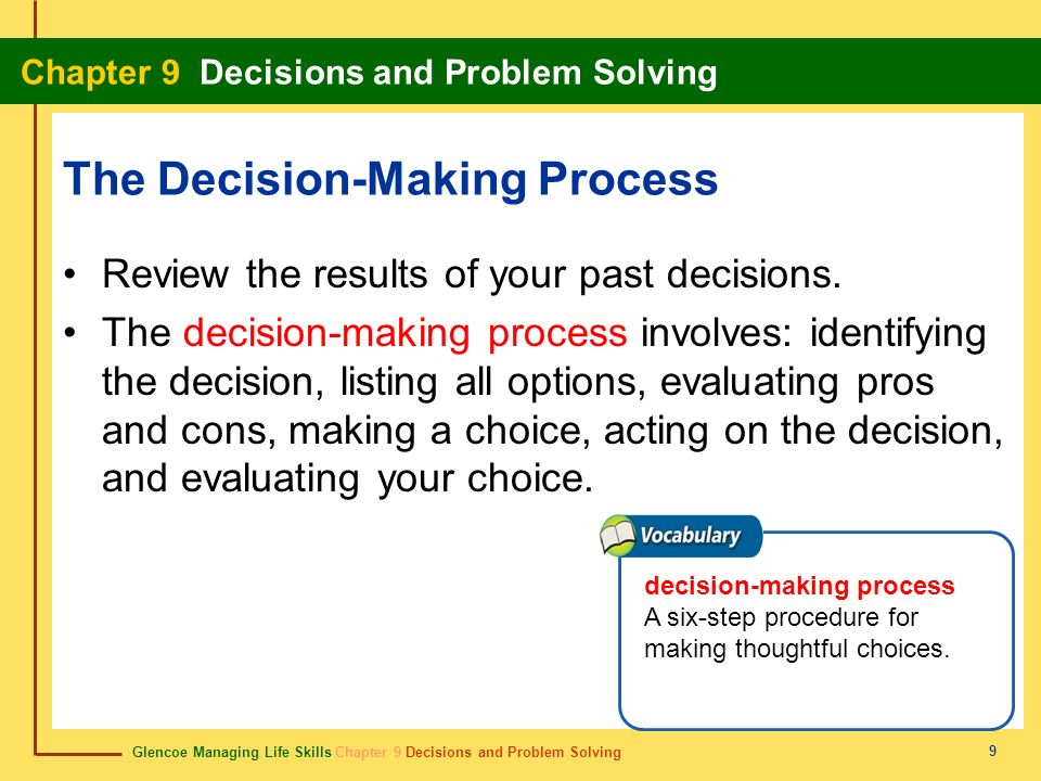 Glencoe Managing Life Skills Chapter 9 Decisions and Problem Solving Chapter 9 Decisions and Problem Solving 9 The Decision-Making Process Review the
