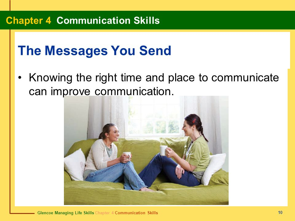 Glencoe Managing Life Skills Chapter 4 Communication Skills Chapter 4 Communication Skills 10 The Messages You Send Knowing the right time and place t