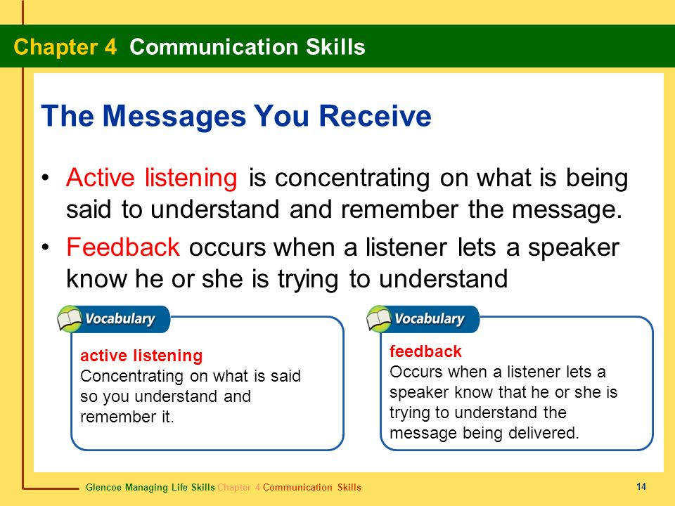 Glencoe Managing Life Skills Chapter 4 Communication Skills Chapter 4 Communication Skills 14 The Messages You Receive Active listening is concentrati