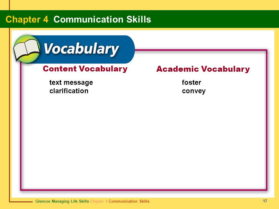 Glencoe Managing Life Skills Chapter 4 Communication Skills Chapter 4 Communication Skills 17 Content Vocabulary Academic Vocabulary text message clar