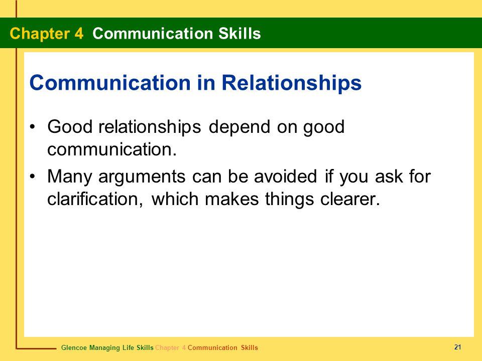 Glencoe Managing Life Skills Chapter 4 Communication Skills Chapter 4 Communication Skills 21 Communication in Relationships Good relationships depend