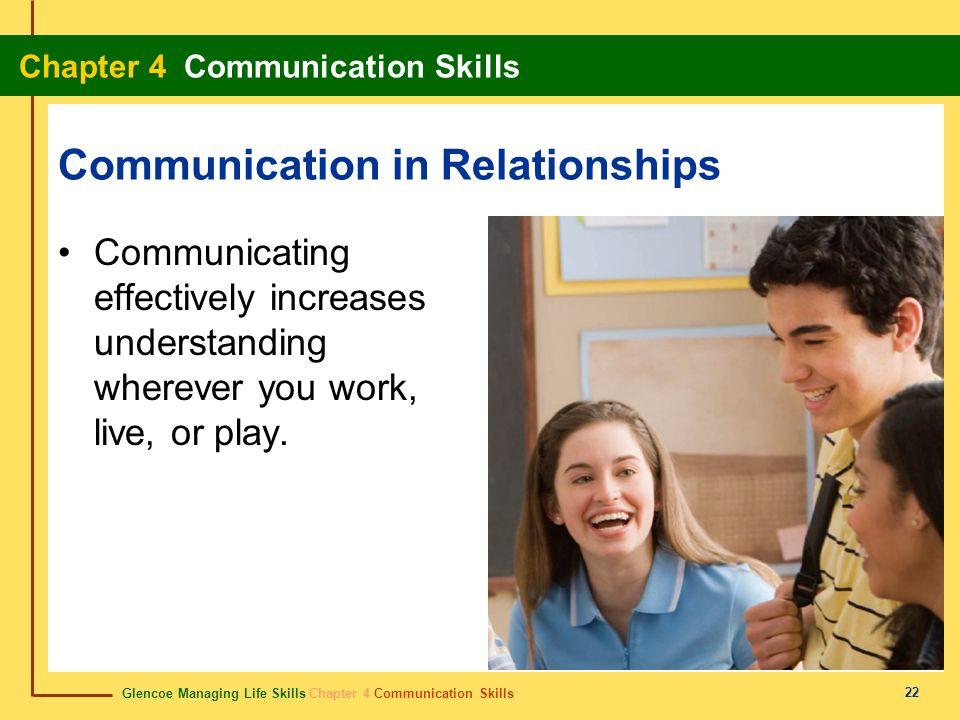 Glencoe Managing Life Skills Chapter 4 Communication Skills Chapter 4 Communication Skills 22 Communication in Relationships Communicating effectively