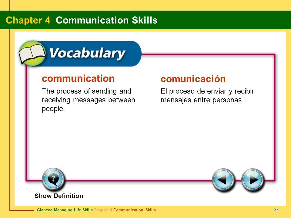 Glencoe Managing Life Skills Chapter 4 Communication Skills Chapter 4 Communication Skills 28 communication comunicación The process of sending and re
