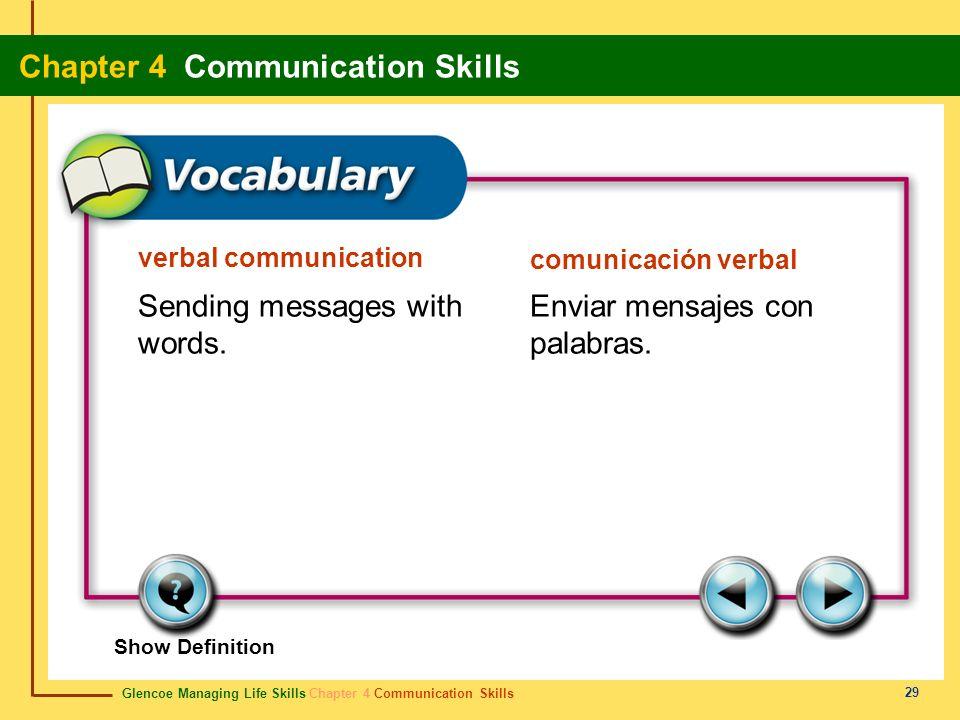 Glencoe Managing Life Skills Chapter 4 Communication Skills Chapter 4 Communication Skills 29 verbal communication comunicación verbal Sending message