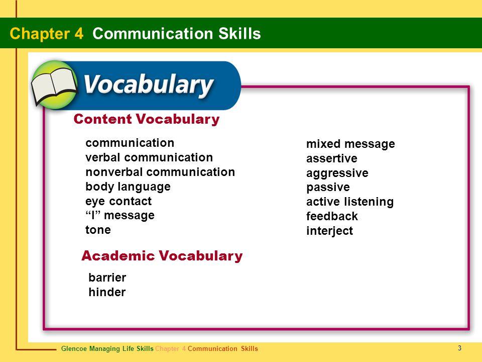 Glencoe Managing Life Skills Chapter 4 Communication Skills Chapter 4 Communication Skills 3 Content Vocabulary Academic Vocabulary communication verb