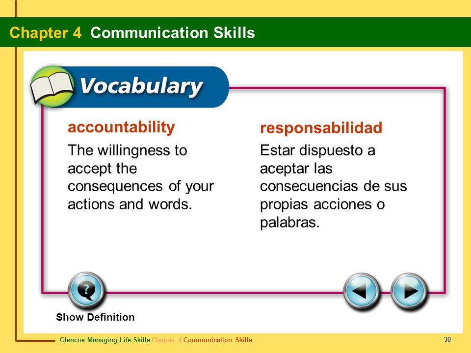 Glencoe Managing Life Skills Chapter 4 Communication Skills Chapter 4 Communication Skills 30 accountability responsabilidad The willingness to accept