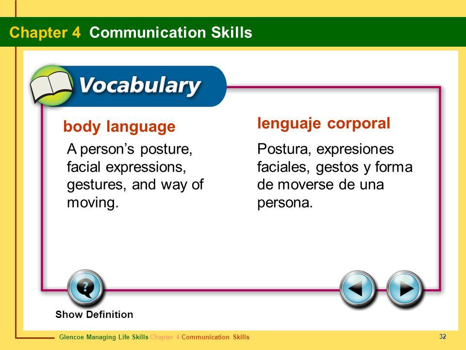 Glencoe Managing Life Skills Chapter 4 Communication Skills Chapter 4 Communication Skills 32 body language lenguaje corporal A persons posture, facia
