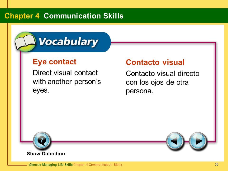 Glencoe Managing Life Skills Chapter 4 Communication Skills Chapter 4 Communication Skills 33 Eye contact Contacto visual Direct visual contact with a