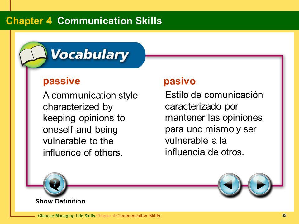 Glencoe Managing Life Skills Chapter 4 Communication Skills Chapter 4 Communication Skills 39 passive pasivo A communication style characterized by ke