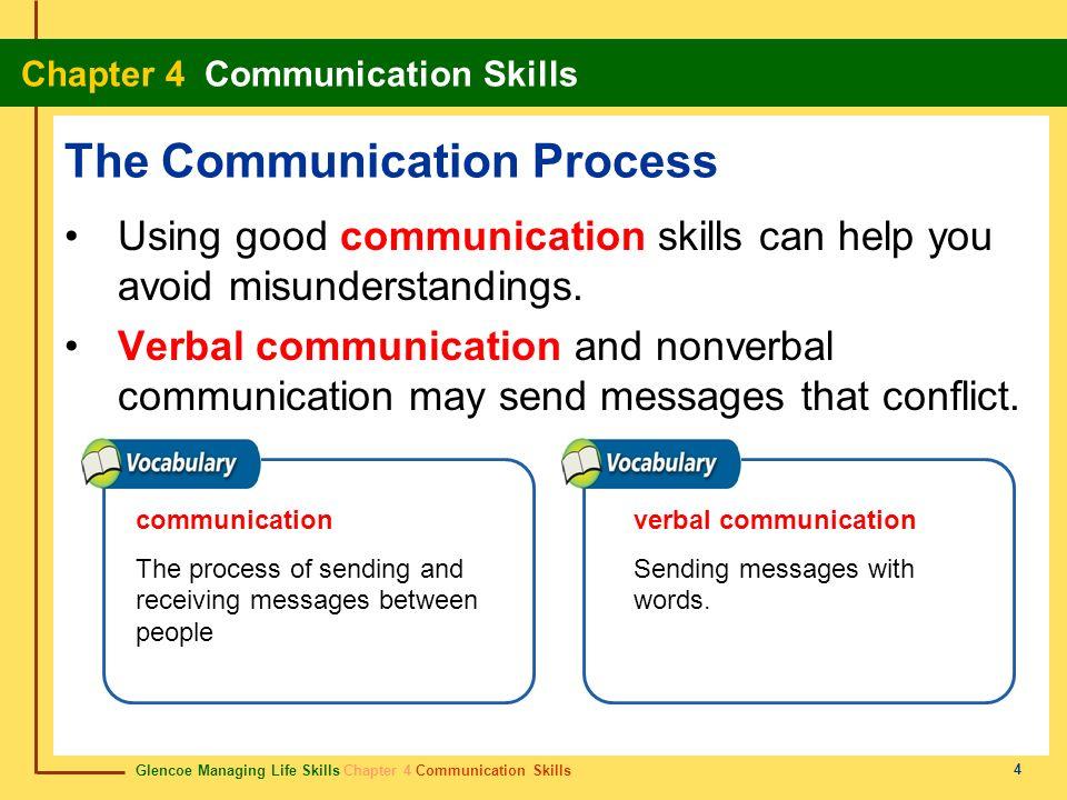 Glencoe Managing Life Skills Chapter 4 Communication Skills Chapter 4 Communication Skills 4 The Communication Process Using good communication skills