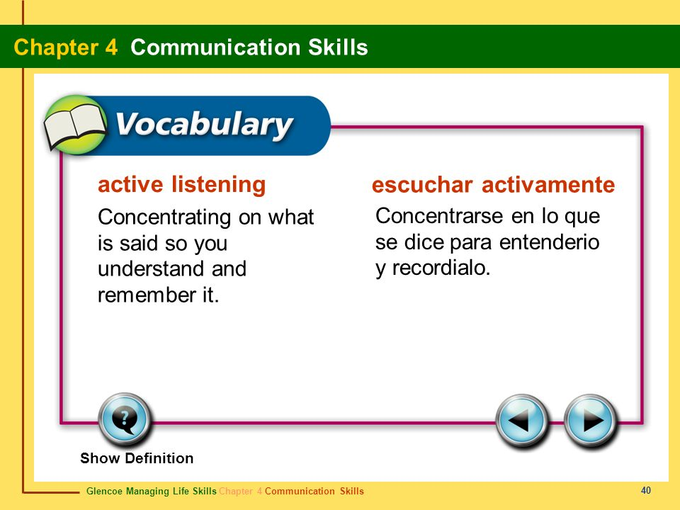 Glencoe Managing Life Skills Chapter 4 Communication Skills Chapter 4 Communication Skills 40 active listening escuchar activamente Concentrating on w