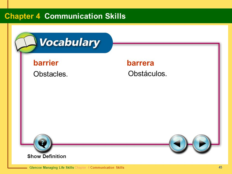 Glencoe Managing Life Skills Chapter 4 Communication Skills Chapter 4 Communication Skills 45 barrier barrera Obstacles. Obstáculos. Show Definition