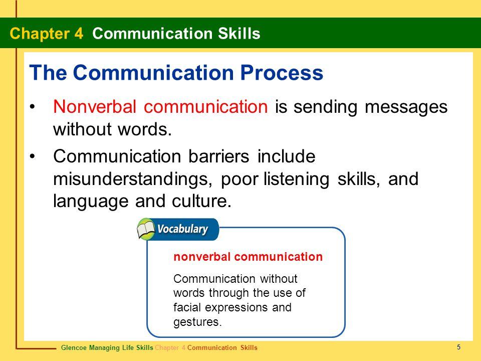 Glencoe Managing Life Skills Chapter 4 Communication Skills Chapter 4 Communication Skills 5 The Communication Process Nonverbal communication is send