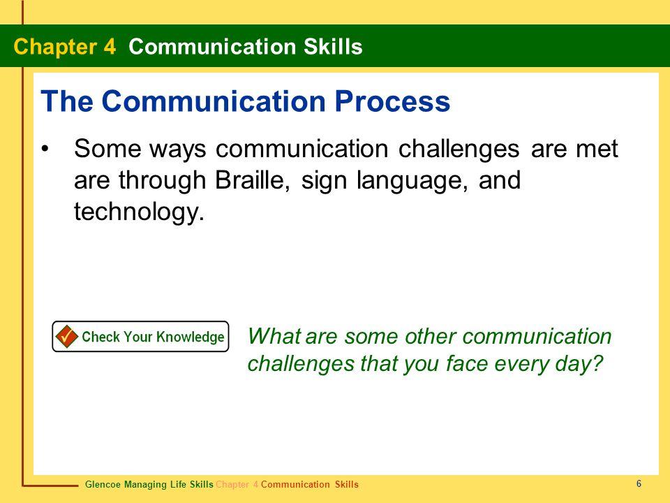 Glencoe Managing Life Skills Chapter 4 Communication Skills Chapter 4 Communication Skills 6 The Communication Process Some ways communication challen