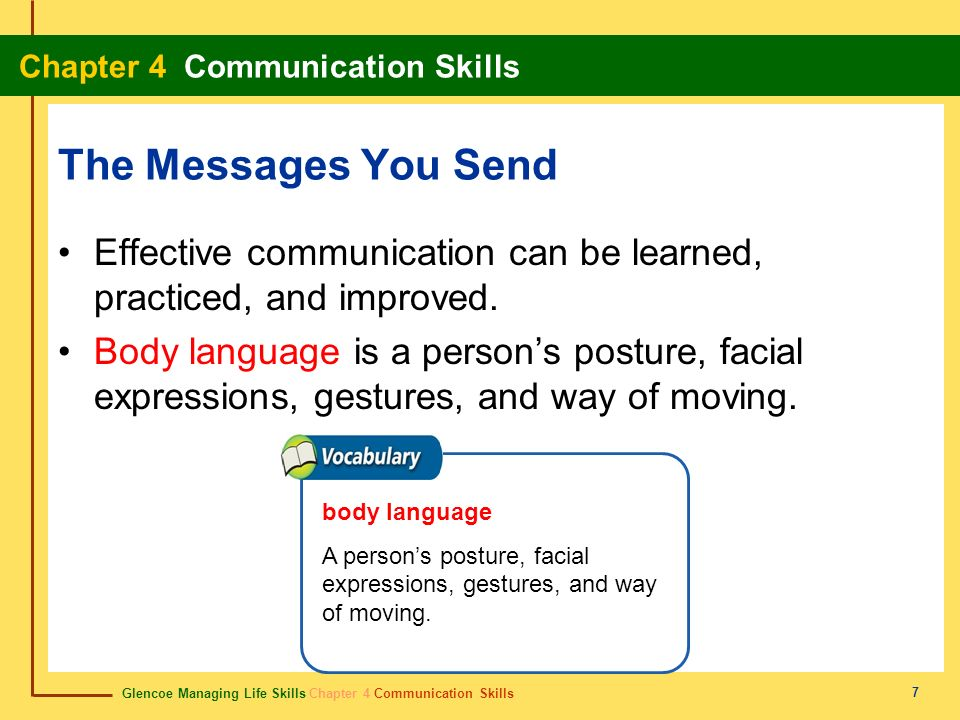 Glencoe Managing Life Skills Chapter 4 Communication Skills Chapter 4 Communication Skills 7 The Messages You Send Effective communication can be lear