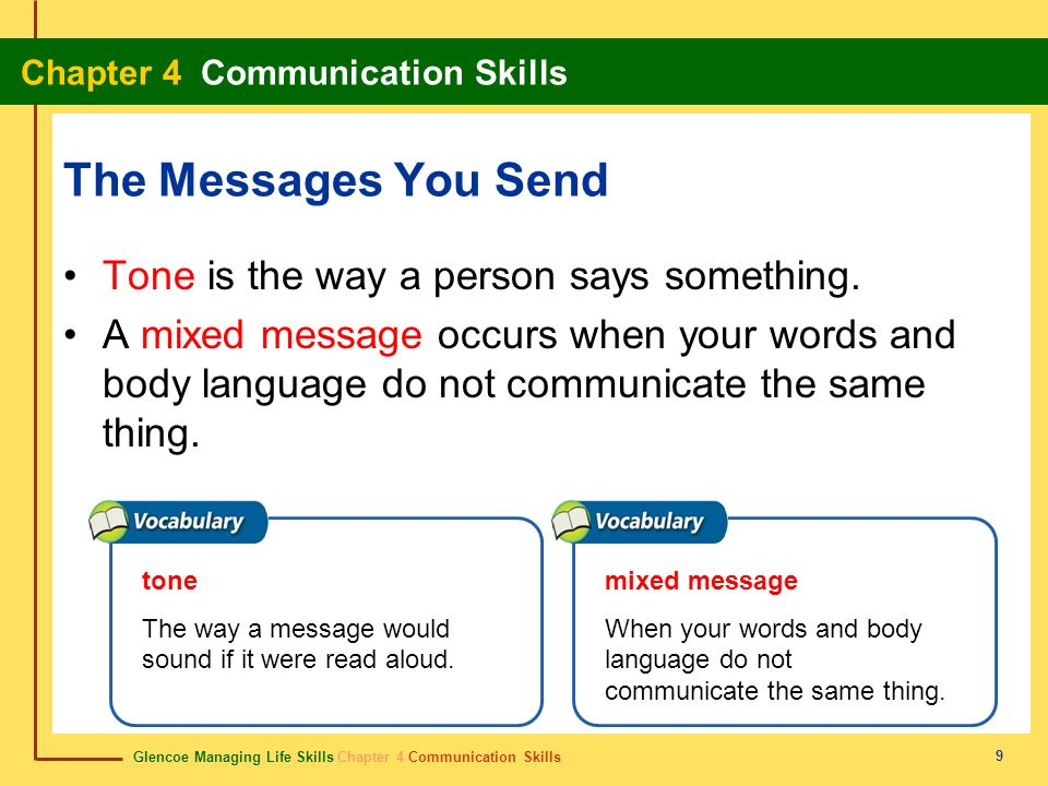 Glencoe Managing Life Skills Chapter 4 Communication Skills Chapter 4 Communication Skills 9 The Messages You Send Tone is the way a person says somet