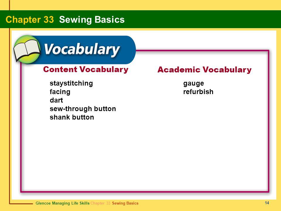 Glencoe Managing Life Skills Chapter 33 Sewing Basics Chapter 33 Sewing Basics 14 Content Vocabulary Academic Vocabulary staystitching facing dart sew