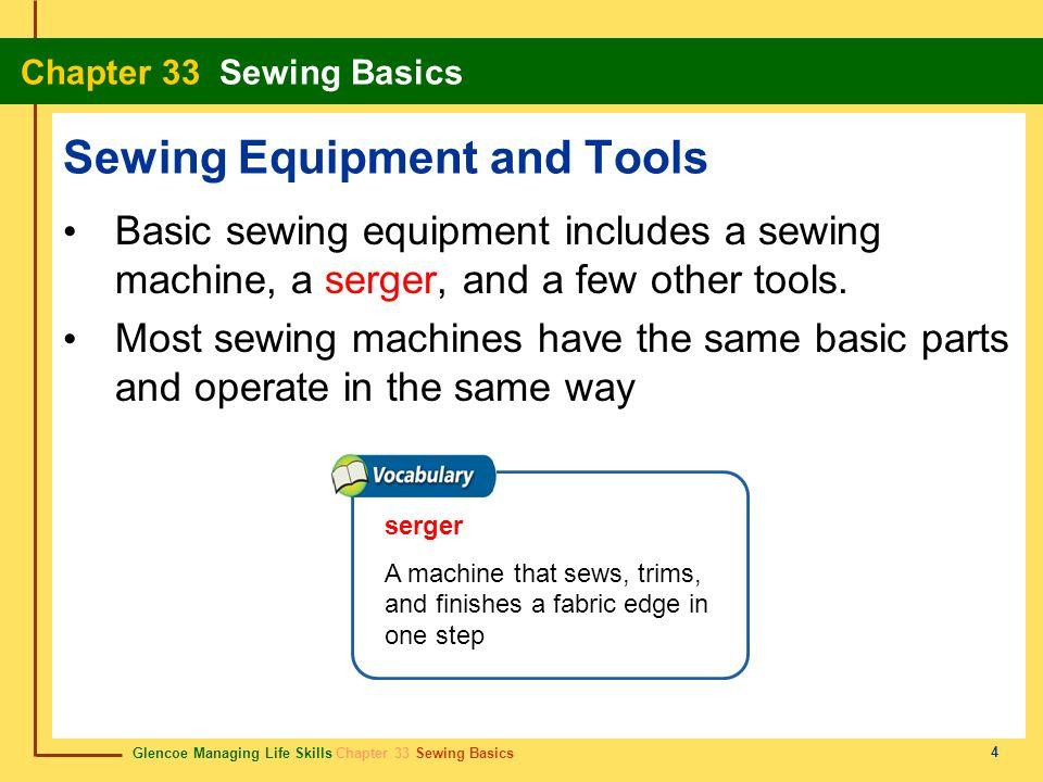 Glencoe Managing Life Skills Chapter 33 Sewing Basics Chapter 33 Sewing Basics 4 Sewing Equipment and Tools Basic sewing equipment includes a sewing m