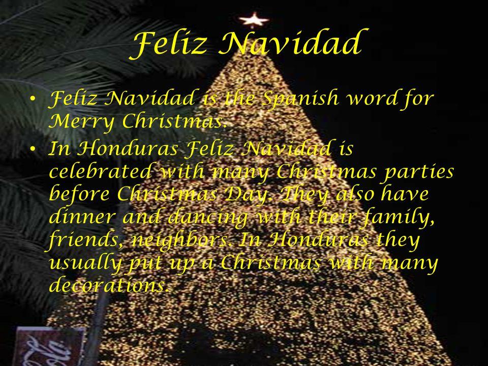 Feliz Navidad Feliz Navidad is the Spanish word for Merry Christmas. In Honduras Feliz Navidad is celebrated with many Christmas parties before Christ