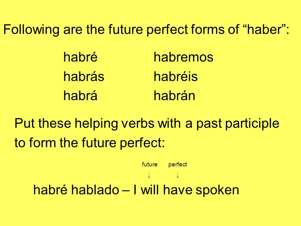 Following are the future perfect forms of haber: habréhabremos habráshabréis habráhabrán Put these helping verbs with a past participle to form the fu