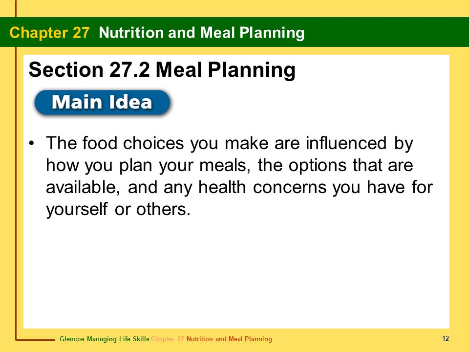 Glencoe Managing Life Skills Chapter 27 Nutrition and Meal Planning Chapter 27 Nutrition and Meal Planning 12 The food choices you make are influenced