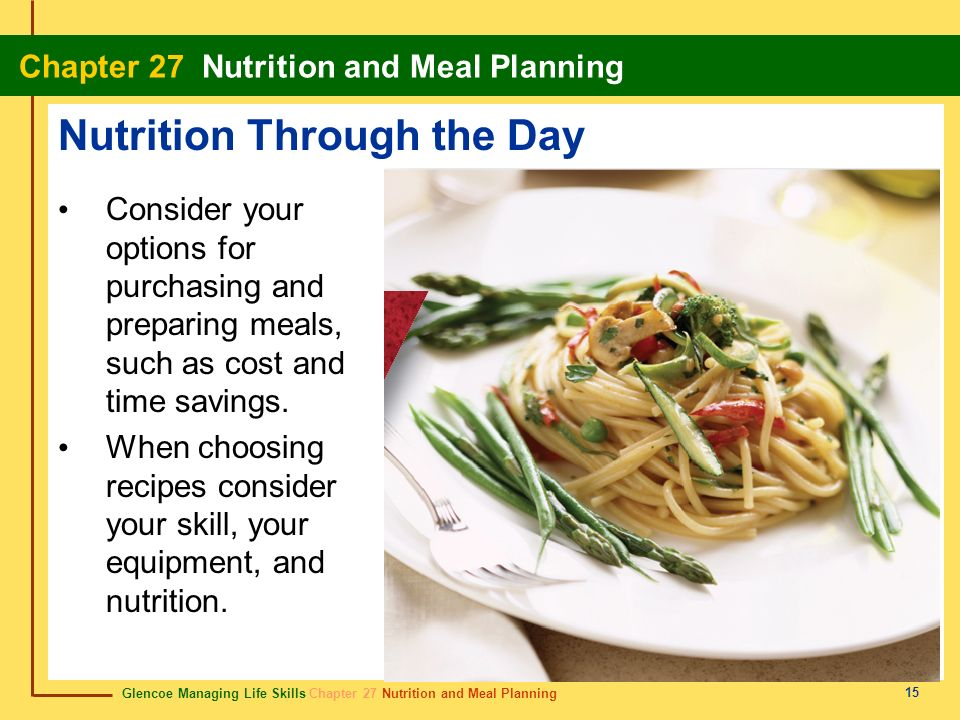 Glencoe Managing Life Skills Chapter 27 Nutrition and Meal Planning Chapter 27 Nutrition and Meal Planning 15 Nutrition Through the Day Consider your