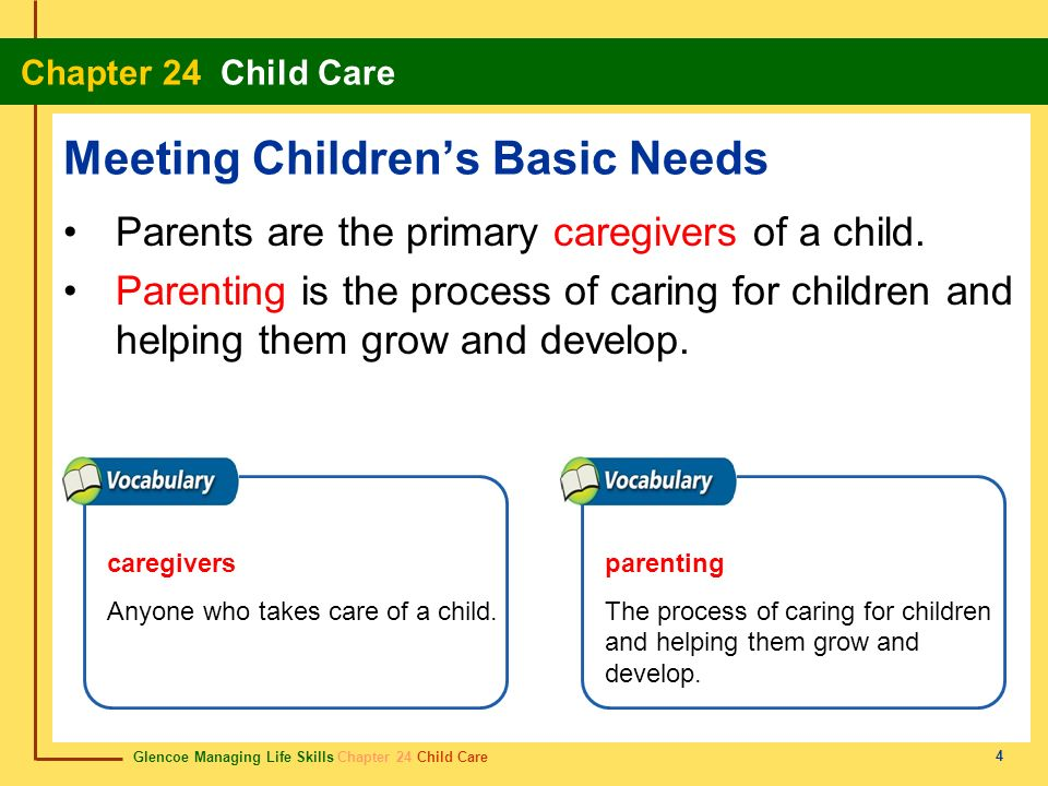 Glencoe Managing Life Skills Chapter 24 Child Care Chapter 24 Child Care 4 Meeting Childrens Basic Needs Parents are the primary caregivers of a child