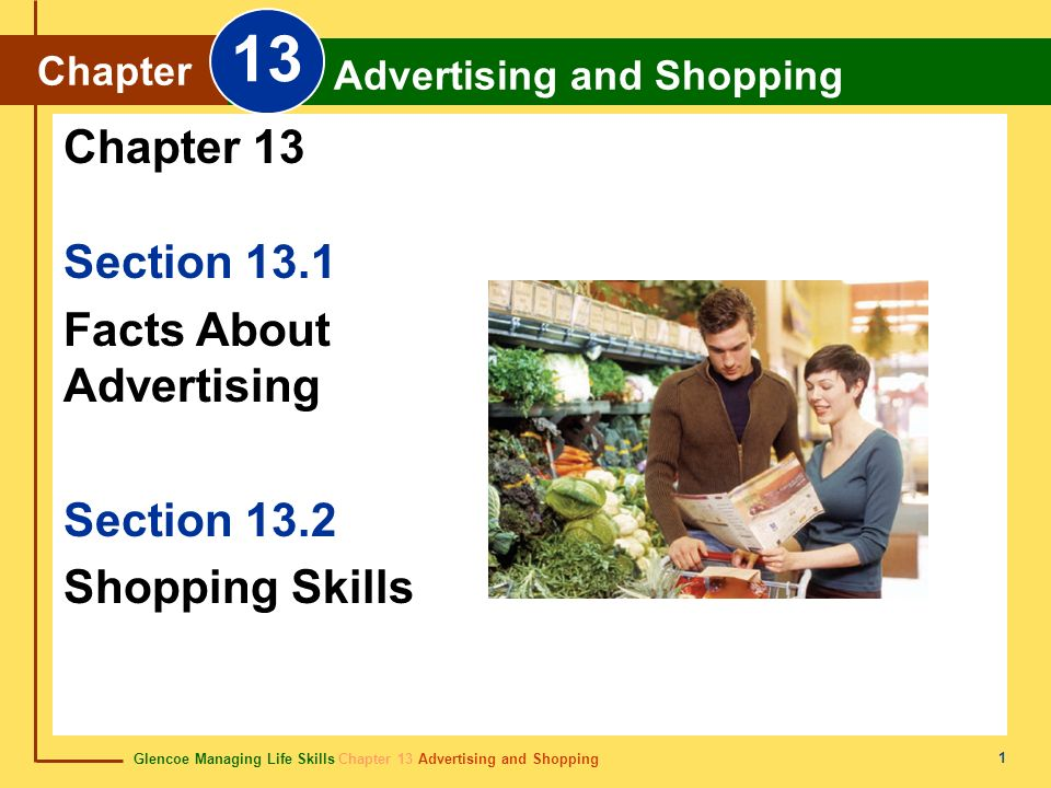 Glencoe Managing Life Skills Chapter 13 Advertising and Shopping Chapter 13 Advertising and Shopping 1 Section 13.1 Facts About Advertising Section 13