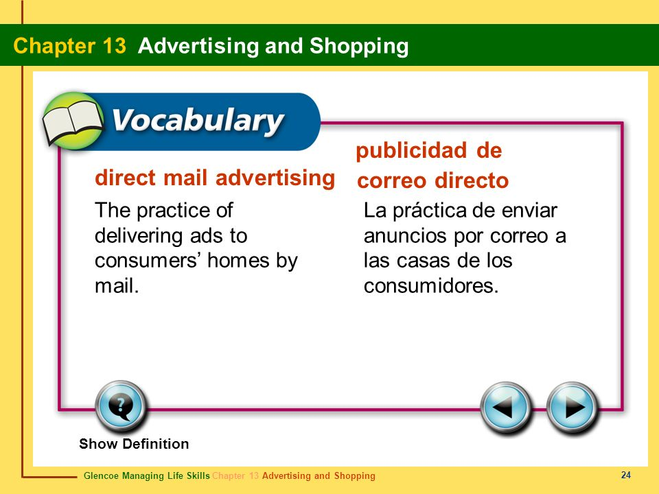 Glencoe Managing Life Skills Chapter 13 Advertising and Shopping Chapter 13 Advertising and Shopping 24 direct mail advertising publicidad de correo d