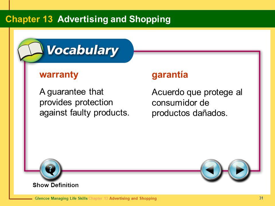 Glencoe Managing Life Skills Chapter 13 Advertising and Shopping Chapter 13 Advertising and Shopping 31 warranty garantía A guarantee that provides pr