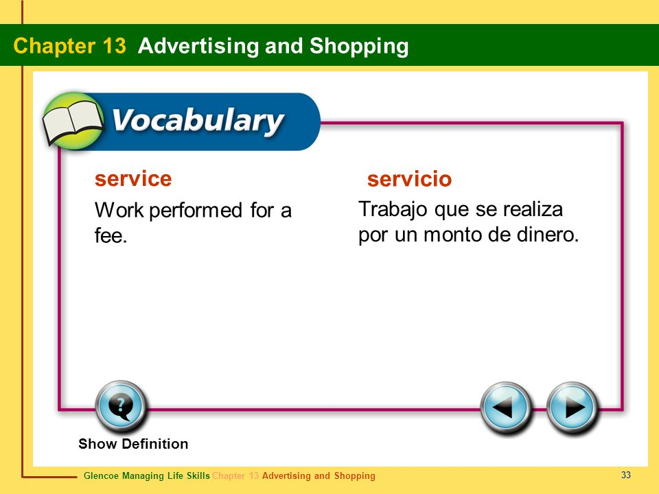 Glencoe Managing Life Skills Chapter 13 Advertising and Shopping Chapter 13 Advertising and Shopping 33 service servicio Work performed for a fee. Tra
