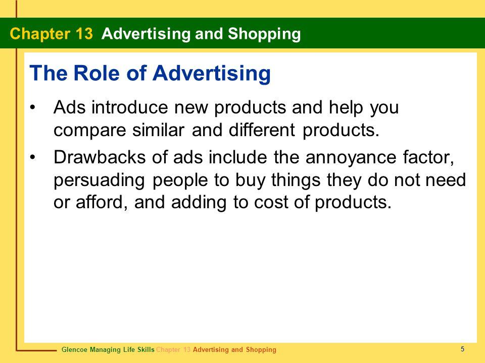 Glencoe Managing Life Skills Chapter 13 Advertising and Shopping Chapter 13 Advertising and Shopping 5 The Role of Advertising Ads introduce new produ