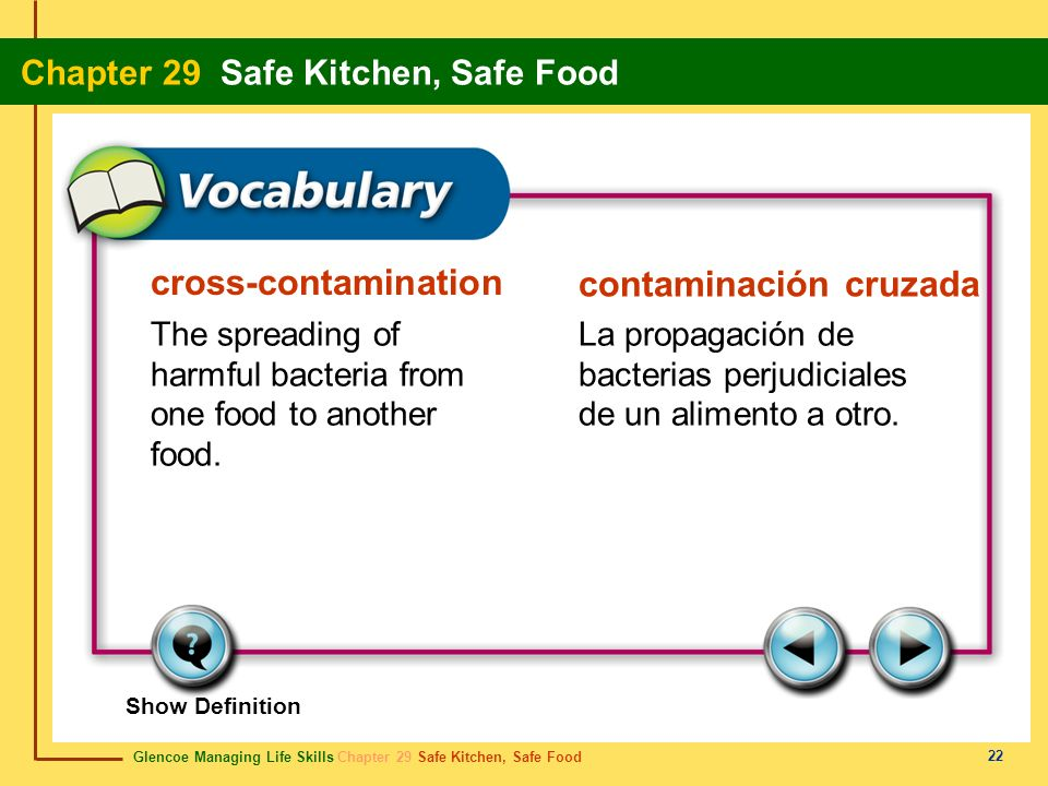 Glencoe Managing Life Skills Chapter 29 Safe Kitchen, Safe Food Chapter 29 Safe Kitchen, Safe Food 23 danger zone zona de peligro Temperatures between 40°F (4°C) and 140°F (60°C) that allow bacteria to grow to dangerous levels most rapidly.
