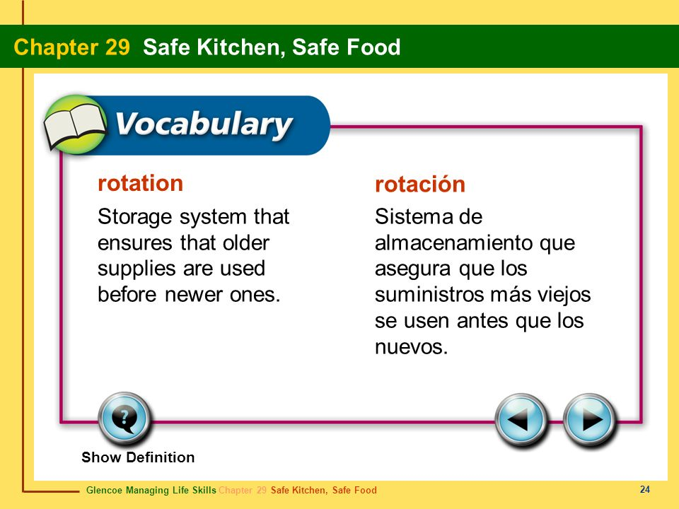 Glencoe Managing Life Skills Chapter 29 Safe Kitchen, Safe Food Chapter 29 Safe Kitchen, Safe Food 25 freezer burnquemadura de congelación A condition caused by moisture loss due to improper or inadequate packaging of food before freezing.