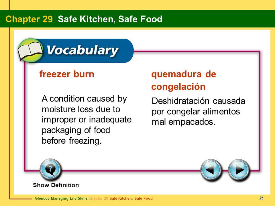 Glencoe Managing Life Skills Chapter 29 Safe Kitchen, Safe Food Chapter 29 Safe Kitchen, Safe Food 26 range estufa A cooking stove.Una estufa para cocinar.