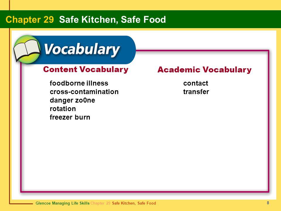 Glencoe Managing Life Skills Chapter 29 Safe Kitchen, Safe Food Chapter 29 Safe Kitchen, Safe Food 9 Preventing Foodborne Illness Some basic precautions must be taken when preparing food in order to prevent foodborne illness.