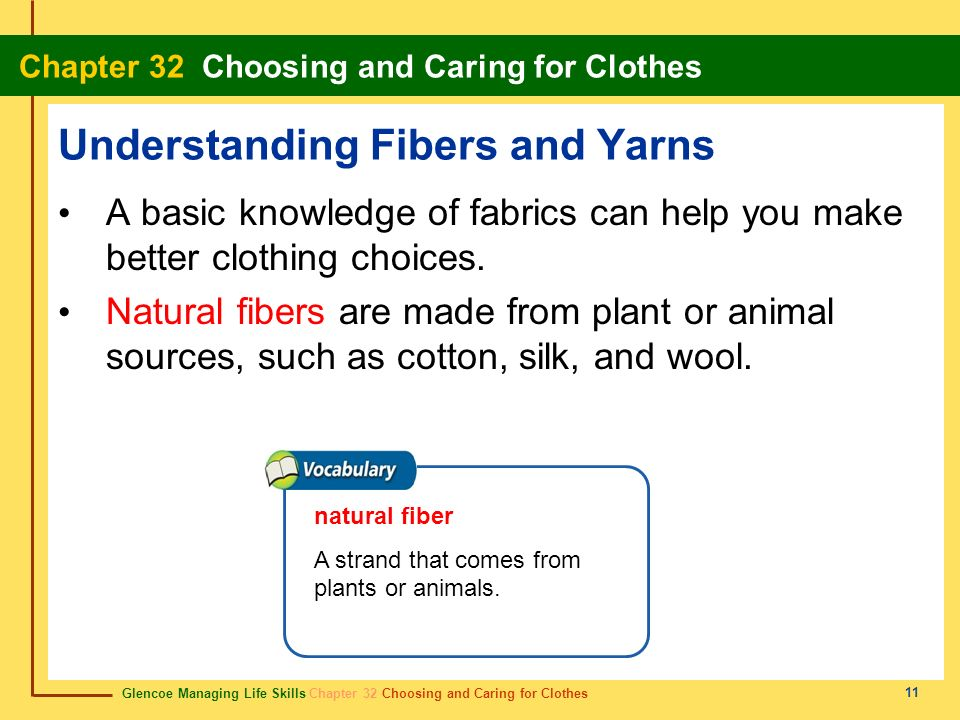 Glencoe Managing Life Skills Chapter 32 Choosing and Caring for Clothes Chapter 32 Choosing and Caring for Clothes 11 Understanding Fibers and Yarns A