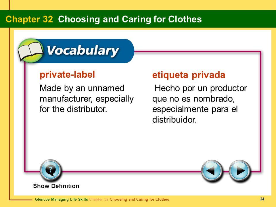 Glencoe Managing Life Skills Chapter 32 Choosing and Caring for Clothes Chapter 32 Choosing and Caring for Clothes 24 private-label etiqueta privada M