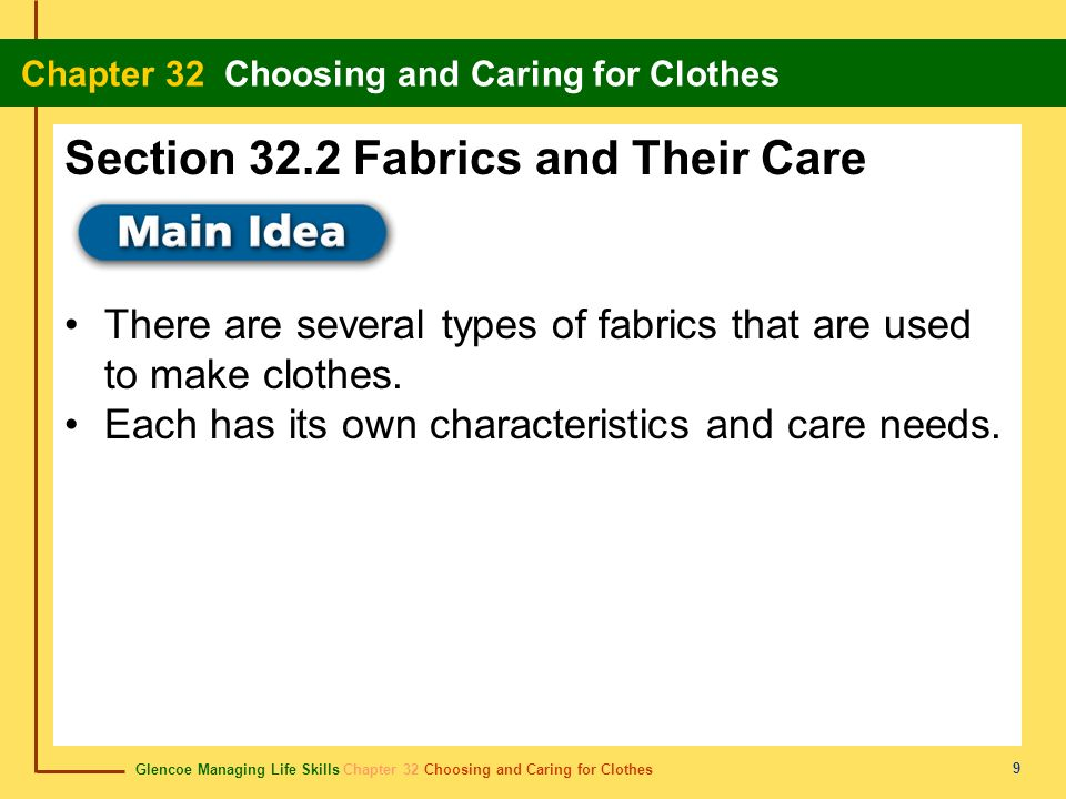 Glencoe Managing Life Skills Chapter 32 Choosing and Caring for Clothes Chapter 32 Choosing and Caring for Clothes 9 There are several types of fabric