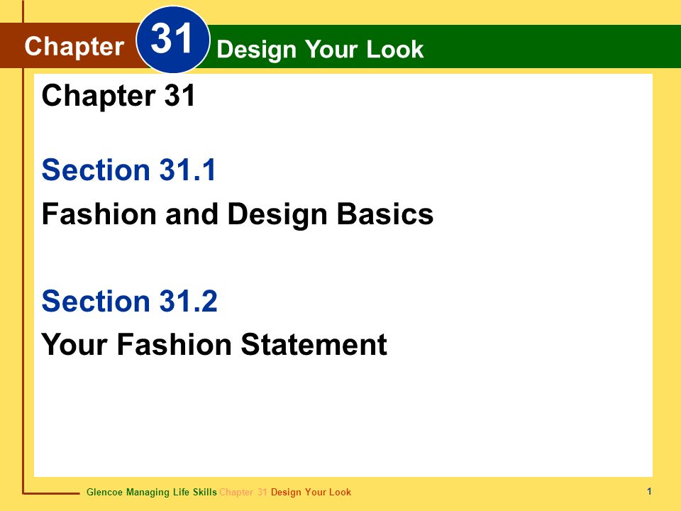 Glencoe Managing Life Skills Chapter 31 Design Your Look Chapter 31 Design Your Look 1 Section 31.1 Fashion and Design Basics Section 31.2 Your Fashio