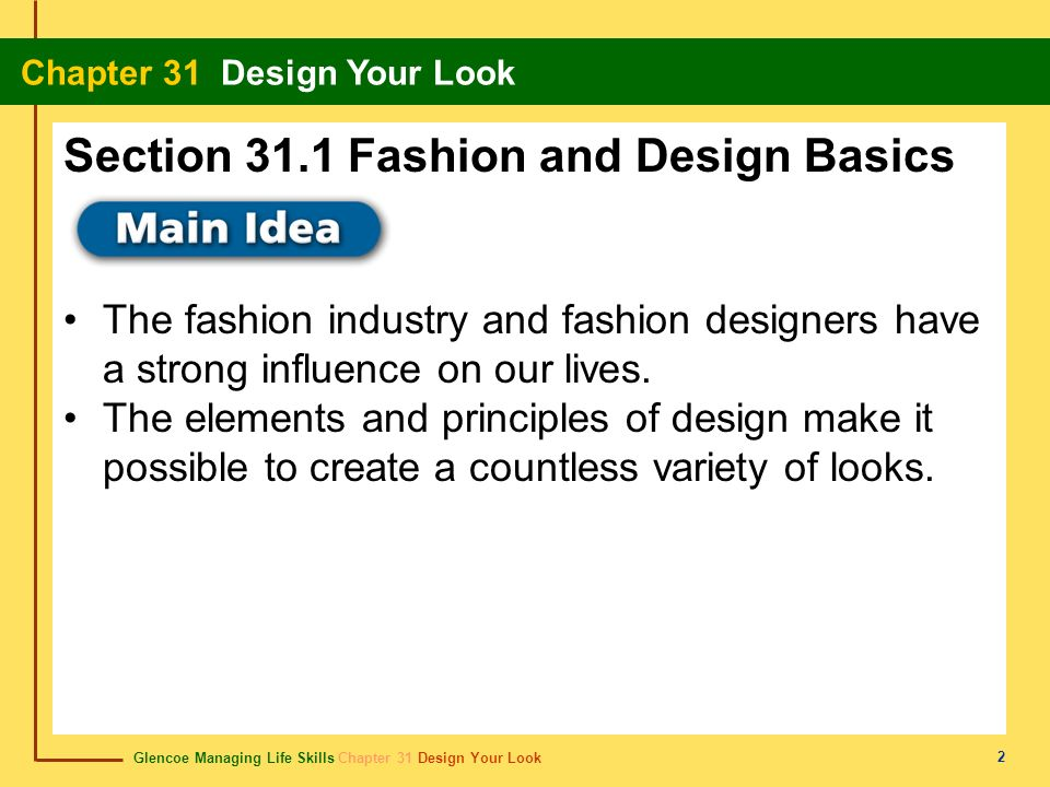 Glencoe Managing Life Skills Chapter 31 Design Your Look Chapter 31 Design Your Look 2 The fashion industry and fashion designers have a strong influe