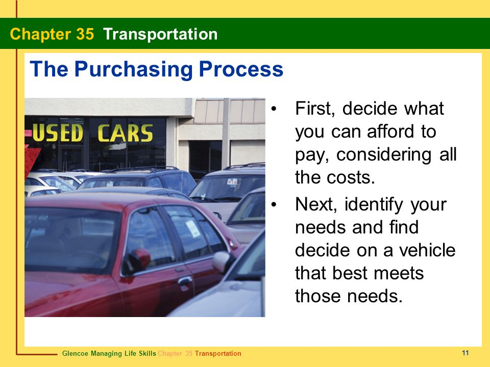 Glencoe Managing Life Skills Chapter 35 Transportation Chapter 35 Transportation 11 The Purchasing Process First, decide what you can afford to pay, c
