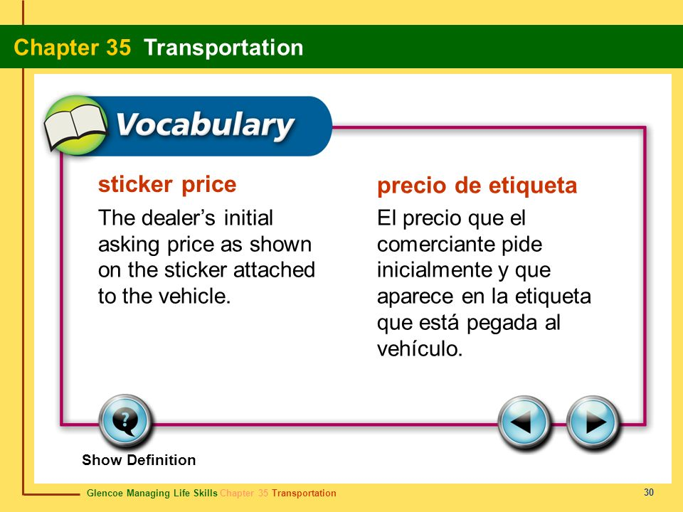 Glencoe Managing Life Skills Chapter 35 Transportation Chapter 35 Transportation 30 sticker price precio de etiqueta The dealers initial asking price