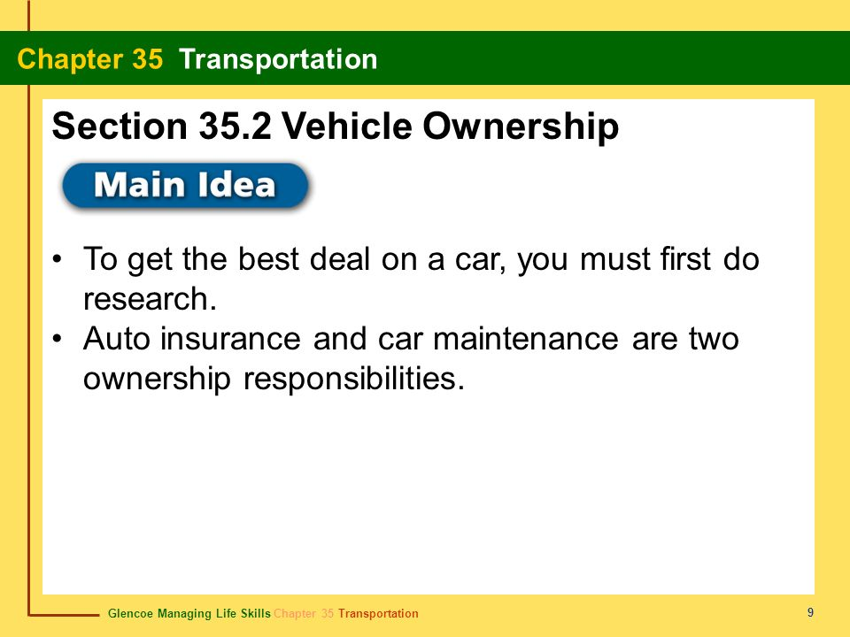 Glencoe Managing Life Skills Chapter 35 Transportation Chapter 35 Transportation 9 To get the best deal on a car, you must first do research. Auto ins