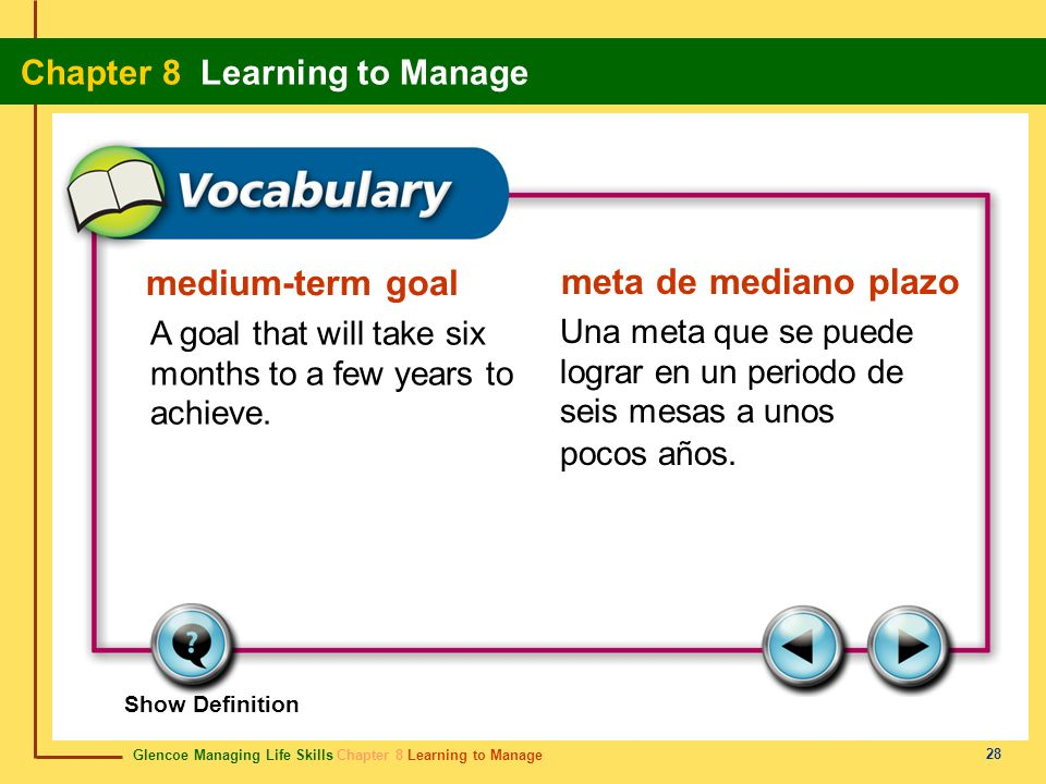 Glencoe Managing Life Skills Chapter 8 Learning to Manage Chapter 8 Learning to Manage 28 medium-term goal meta de mediano plazo A goal that will take