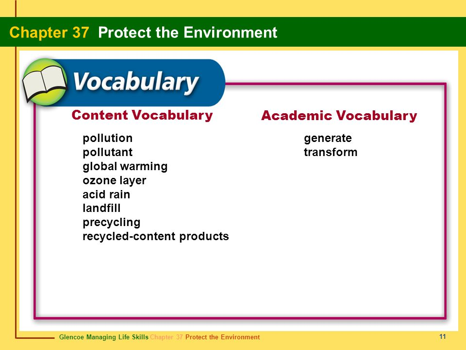 Glencoe Managing Life Skills Chapter 37 Protect the Environment Chapter 37 Protect the Environment 11 Content Vocabulary Academic Vocabulary pollution