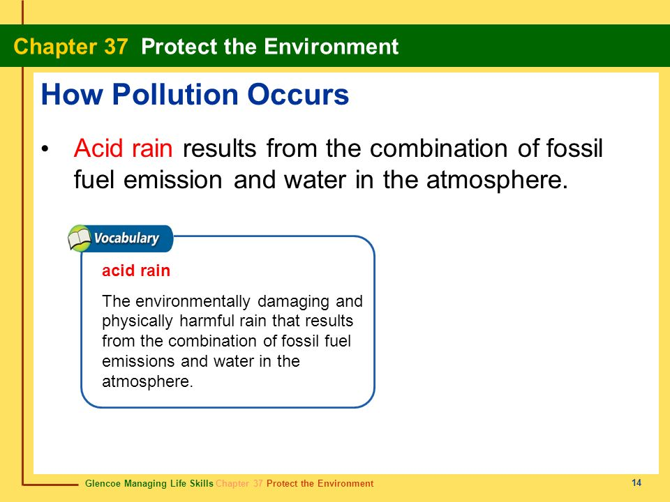 Glencoe Managing Life Skills Chapter 37 Protect the Environment Chapter 37 Protect the Environment 14 How Pollution Occurs Acid rain results from the
