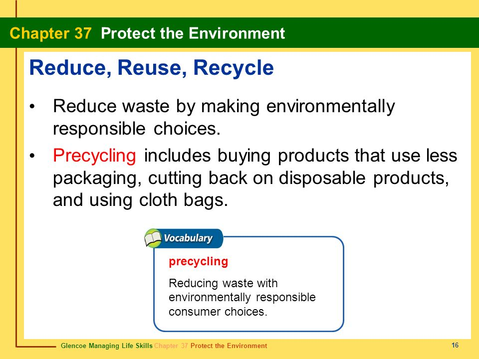 Glencoe Managing Life Skills Chapter 37 Protect the Environment Chapter 37 Protect the Environment 16 Reduce, Reuse, Recycle Reduce waste by making en