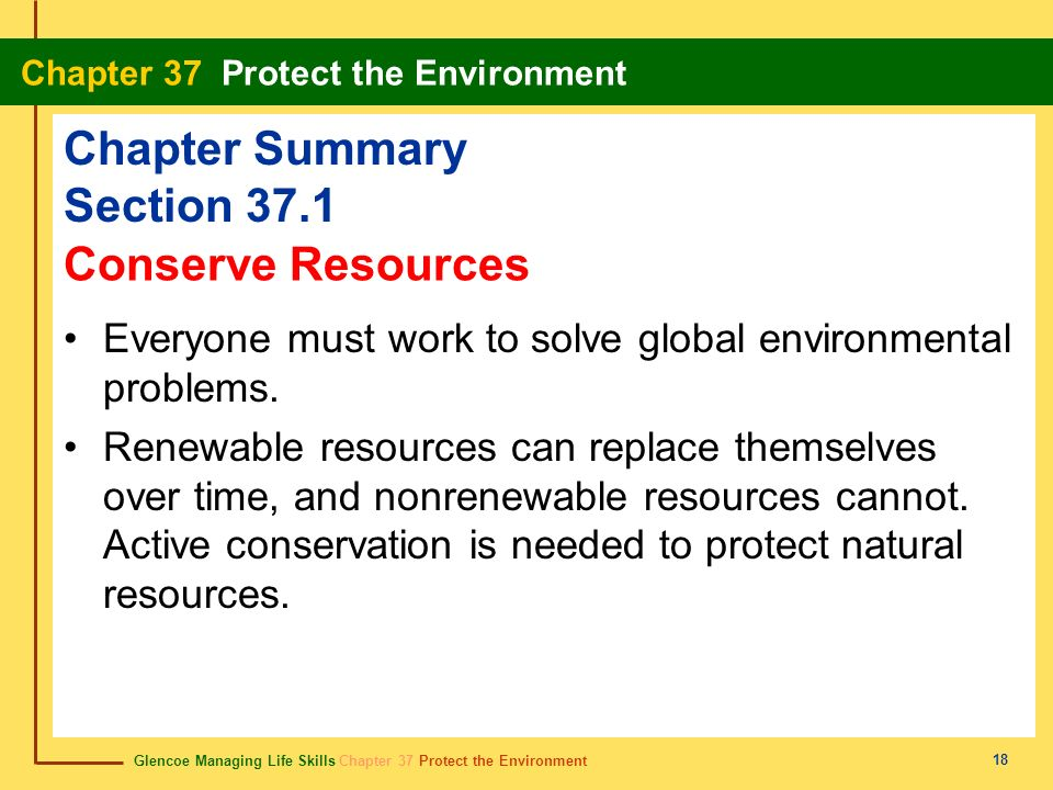 Glencoe Managing Life Skills Chapter 37 Protect the Environment Chapter 37 Protect the Environment 18 Chapter Summary Section 37.1 Everyone must work