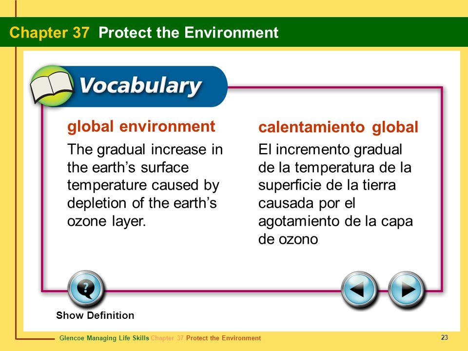 Glencoe Managing Life Skills Chapter 37 Protect the Environment Chapter 37 Protect the Environment 23 global environment calentamiento global The grad